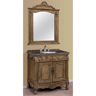 Regine Brown-Grey Marble Top 36-inch Single Bathroom Vanity with Mirror