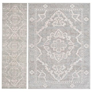Admire Home Living Catherine Grey Olefin 2-piece Area Rug Set (5'3 x 7'3 / 2'2 x 7'7)