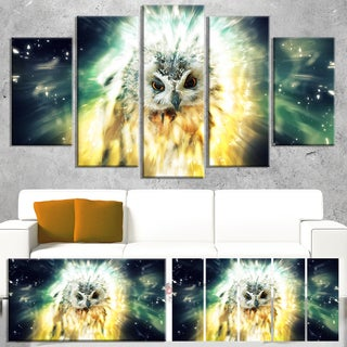 Designart 'Owl over Colorful Abstract Image' Large Animal Art on Canvas - multi