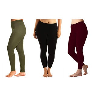 Women's Cotton Plus-size Leggings (3 Pack)