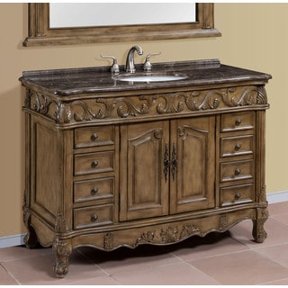 Regine Brown-Grey Marble Top 48-inch Single Bathroom Vanity