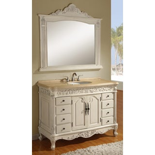 Ares Cream Marble 48-inch Single Bathroom Vanity with Mirror