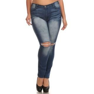 A Plus Style Women's Blue Ripped Knee Sand Blast Skinny Jeans