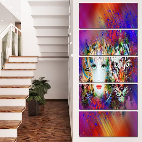 Designart 'Colorful Tiger and Woman Face' Large Abstract Canvas Art