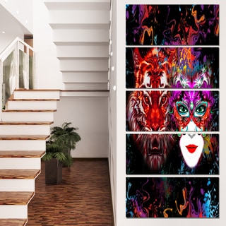 Designart 'Tiger and Woman Colorful Faces' Abstract Wall Art Canvas