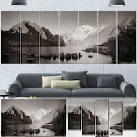 Designart 'Snow Mountain Lake Panorama' Large Landscape Canvas Art - Grey