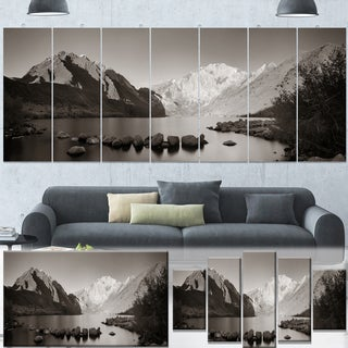 Designart 'Snow Mountain Lake Panorama' Large Landscape Canvas Art - Grey
