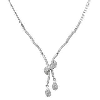 Luxiro Sterling Silver Cubic Zirconia Teardrop Tennis Necklace