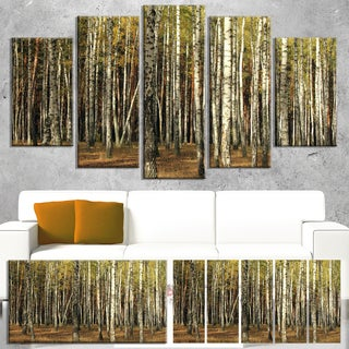 Designart 'Green Fall Forest with Thick Trees' Large Forest Canvas Art
