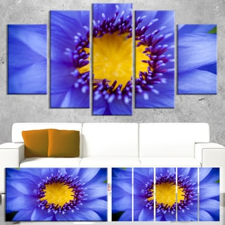 Designart 'Blue Lotus Close-up Watercolor' Flowers Canvas Wall Artwork