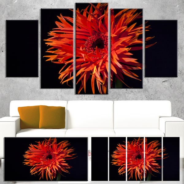 Designart 'Spider Gerbera Daisy Watercolor' Flowers Canvas Wall Artwork - Red