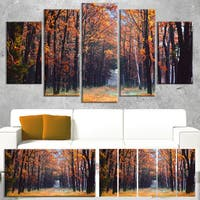 Designart 'Alley in the Dense Autumn Forest' Large Forest Canvas Art