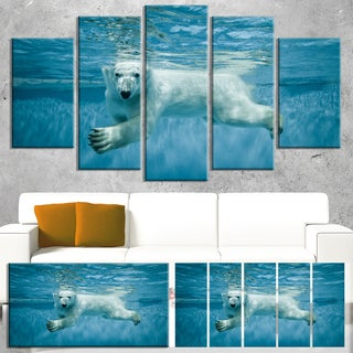 Designart 'Polar Bear Swimming under Water' Large Animal Canvas Artwork