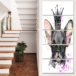 Designart 'Cute Black Dog with Crown' Animal Canvas Wall Art