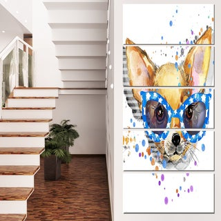 Designart 'Cute Puppy with Blue Glasses' Animal Canvas Wall Art