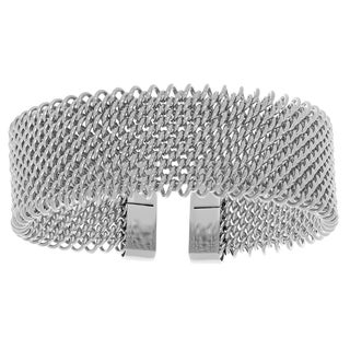 Stainless Steel Mesh Cuff Bangle Bracelet (Option: Rose)