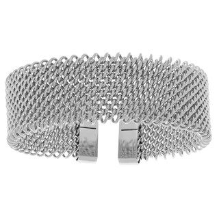 Stainless Steel Mesh Cuff Bangle Bracelet