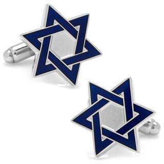 Silver Overlay Blue Star of David Cufflinks