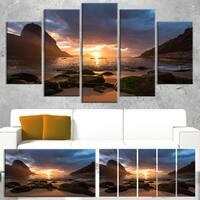 Designart 'Beautiful Sunrise in Red Seashore' Large Beach Canvas Wall Art