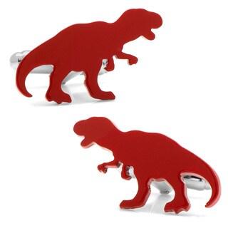Cufflinks Inc. Red Enamel/Silverplated Brass T-Rex Cufflinks