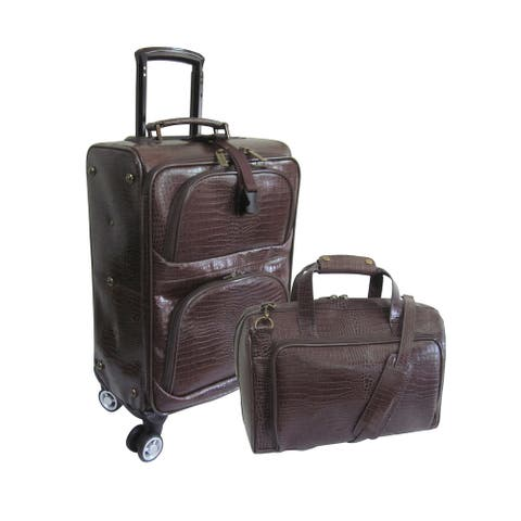 Amerileather Dark Brown Leather Croco-Print 2-piece Spinner Luggage Set
