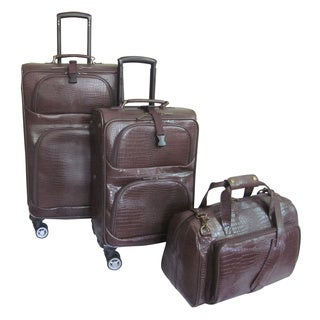 Amerileather Dark Brown Leather Croco-Print 3-piece Spinner Luggage Set