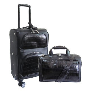 Amerileather Black Two-Tone Leather 2-piece Carry On Spinner Luggage Set