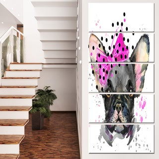 Designart 'Serious French Bulldog Watercolor' Animal Canvas Wall Art