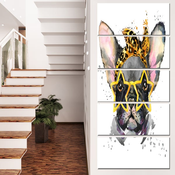 Designart 'French Bulldog with Star Glasses' Animal Canvas Wall Art - Grey