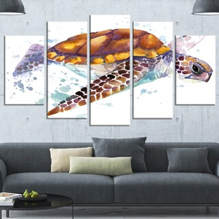 Designart 'Brown Sea Turtle Watercolor' Contemporary Animal Art Canvas