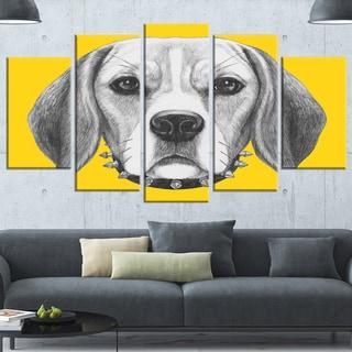 Designart 'Funny Beagle Dog with Collar' Large Animal Wall Artwork