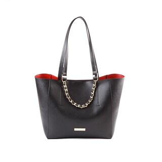Suzy Levian Saffiano Faux Leather Woven Chain Tote Bag