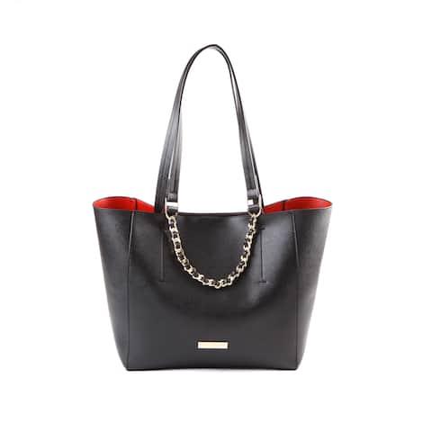 Suzy L. Saffiano Faux Leather Woven Chain Tote Bag