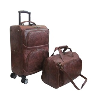 Amerileather Brown Leather Ostrich-Print 2-piece Carry On Spinner Luggage Set