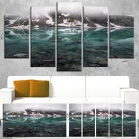 Designart 'Beautiful Turquoise Mountain Lake' Landscape Wall Art Print Canvas - Blue
