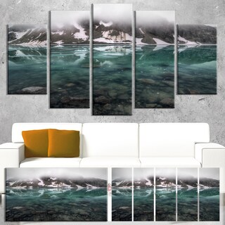 Designart 'Beautiful Turquoise Mountain Lake' Landscape Wall Art Print Canvas - Blue