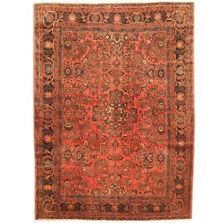Herat Oriental Antique 1920's Persian Hand-knotted Sarouk Wool Rug (8'8 x 11'8)