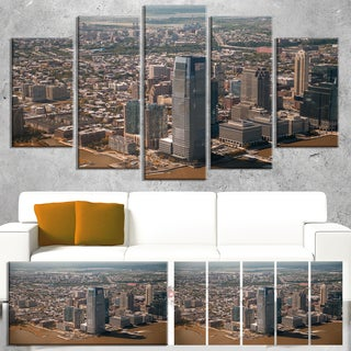 Designart 'Aerial View of City from Helicopter' Large Cityscape Wall Art Canvas Print