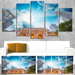 Designart 'New York Public Library' Large Cityscape Wall Art Canvas Print