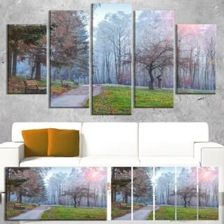 Designart 'Bright Sun over Autumn Trees' Large Landscape Art Canvas Print - Green