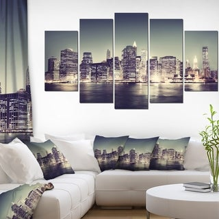 Designart 'Black and White NYC Night Panorama' Extra Large Cityscape Wall Art on Canvas