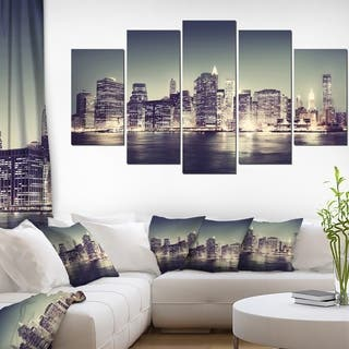 Designart 'Black and White NYC Night Panorama' Extra Large Cityscape Wall Art on Canvas|https://ak1.ostkcdn.com/images/products/13284994/P19995041.jpg?impolicy=medium