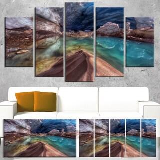 Designart 'Colorful Glacier Cave' Extra Large Landscape Art Canvas