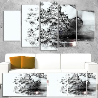 Designart 'Woman and Beauty of Nature' Extra Large Landscape Art Canvas