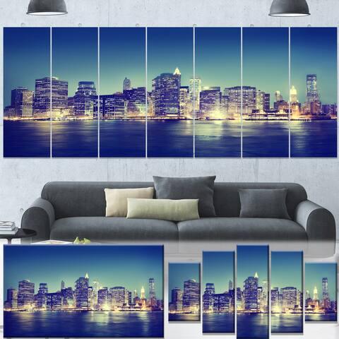 Designart 'New York City Evening Panorama' Extra Large Cityscape Wall Art on Canvas - Blue