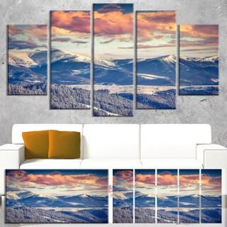 Designart 'Winter Alpine Sunset over Hills' Large Landscape Art Canvas Print - Silver