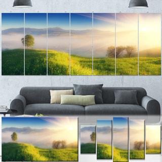 Designart 'Morning Mist over Mountain Village' Extra Large Landscape Art Canvas
