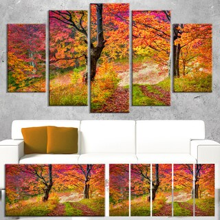 Designart 'Bright Colorful Fall Trees in Forest' Large Landscape Art Canvas Print - Orange
