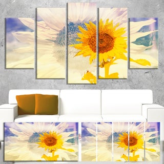 Designart 'Double Exposure Yellow Sunflowers' Modern Floral Wall Artwork