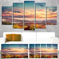 Designart 'Colorful Sunset in Foggy Mountains' Large Landscape Art Canvas Print - Red